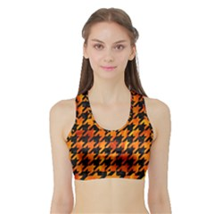 Houndstooth1 Black Marble & Fire Sports Bra With Border