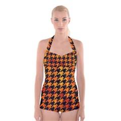 Houndstooth1 Black Marble & Fire Boyleg Halter Swimsuit