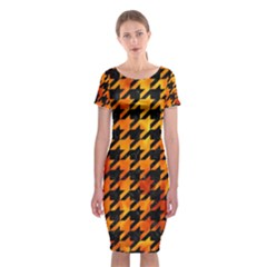 Houndstooth1 Black Marble & Fire Classic Short Sleeve Midi Dress