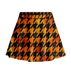 Houndstooth1 Black Marble & Fire Mini Flare Skirt