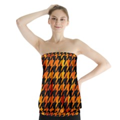 Houndstooth1 Black Marble & Fire Strapless Top