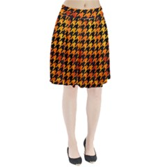 Houndstooth1 Black Marble & Fire Pleated Skirt
