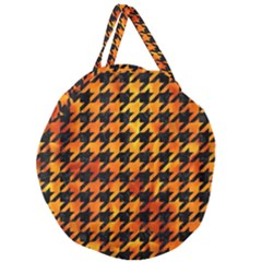 Houndstooth1 Black Marble & Fire Giant Round Zipper Tote