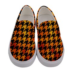 Houndstooth1 Black Marble & Fire Women s Canvas Slip Ons