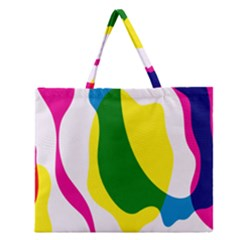 Anatomicalrainbow Wave Chevron Pink Blue Yellow Green Zipper Large Tote Bag