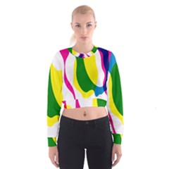 Anatomicalrainbow Wave Chevron Pink Blue Yellow Green Cropped Sweatshirt