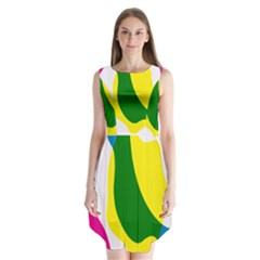 Anatomicalrainbow Wave Chevron Pink Blue Yellow Green Sleeveless Chiffon Dress