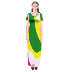 Anatomicalrainbow Wave Chevron Pink Blue Yellow Green Short Sleeve Maxi Dress