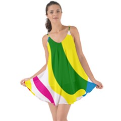 Anatomicalrainbow Wave Chevron Pink Blue Yellow Green Love The Sun Cover Up