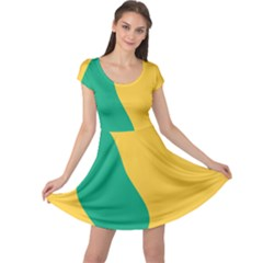 Yellow Green Blue Cap Sleeve Dress