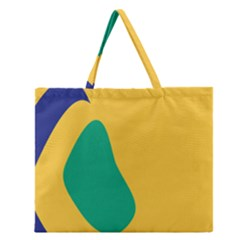 Yellow Green Blue Zipper Large Tote Bag
