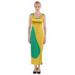 Yellow Green Blue Fitted Maxi Dress