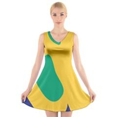 Yellow Green Blue V Neck Sleeveless Skater Dress