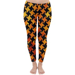 Houndstooth2 Black Marble & Fire Classic Winter Leggings