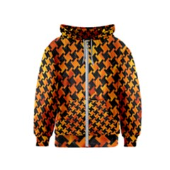 Houndstooth2 Black Marble & Fire Kids  Zipper Hoodie