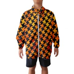 Houndstooth2 Black Marble & Fire Wind Breaker (kids)
