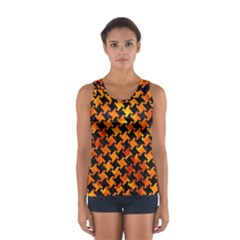 Houndstooth2 Black Marble & Fire Sport Tank Top