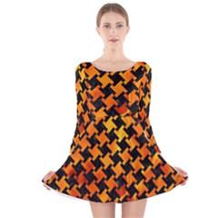 Houndstooth2 Black Marble & Fire Long Sleeve Velvet Skater Dress