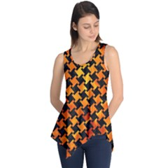 Houndstooth2 Black Marble & Fire Sleeveless Tunic