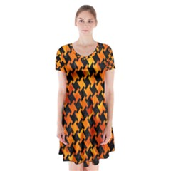 Houndstooth2 Black Marble & Fire Short Sleeve V Neck Flare Dress