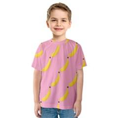 Banana Fruit Yellow Pink Kids  Sport Mesh Tee