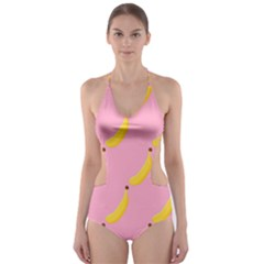Banana Fruit Yellow Pink Cut Out One Piece Swimsuit
