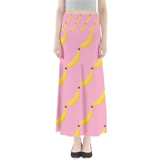Banana Fruit Yellow Pink Full Length Maxi Skirt