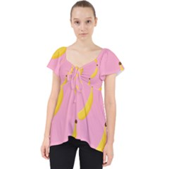 Banana Fruit Yellow Pink Lace Front Dolly Top
