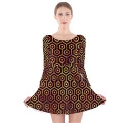 Hexagon1 Black Marble & Fire Long Sleeve Velvet Skater Dress