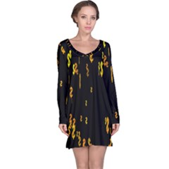 Animated Falling Spinning Shining 3d Golden Dollar Signs Against Transparent Long Sleeve Nightdress