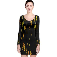 Animated Falling Spinning Shining 3d Golden Dollar Signs Against Transparent Long Sleeve Velvet Bodycon Dress