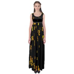 Animated Falling Spinning Shining 3d Golden Dollar Signs Against Transparent Empire Waist Maxi Dress