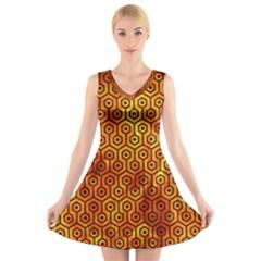 Hexagon1 Black Marble & Fire (r)hexagon1 Black Marble & Fire (r) V Neck Sleeveless Skater Dress