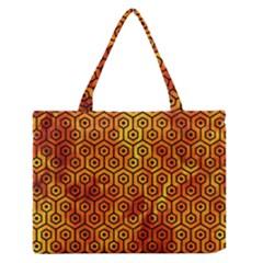 Hexagon1 Black Marble & Fire (r)hexagon1 Black Marble & Fire (r) Zipper Medium Tote Bag