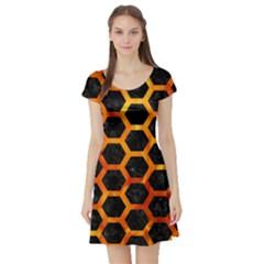 Hexagon2 Black Marble & Fire Short Sleeve Skater Dress