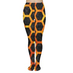 Hexagon2 Black Marble & Fire Women s Tights