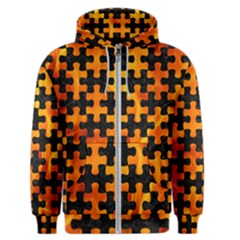 Puzzle1 Black Marble & Fire Men s Zipper Hoodie