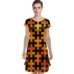 Puzzle1 Black Marble & Fire Cap Sleeve Nightdress