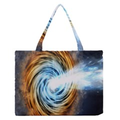 A Blazar Jet In The Middle Galaxy Appear Especially Bright Zipper Medium Tote Bag