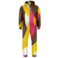 Breast Pink Brown Yellow White Rainbow Hooded Jumpsuit (men)