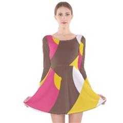 Breast Pink Brown Yellow White Rainbow Long Sleeve Velvet Skater Dress