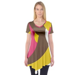 Breast Pink Brown Yellow White Rainbow Short Sleeve Tunic