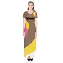 Breast Pink Brown Yellow White Rainbow Short Sleeve Maxi Dress