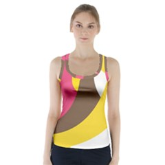 Breast Pink Brown Yellow White Rainbow Racer Back Sports Top