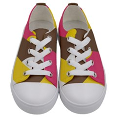 Breast Pink Brown Yellow White Rainbow Kids  Low Top Canvas Sneakers