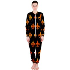 Royal1 Black Marble & Fire (r) Onepiece Jumpsuit (ladies)