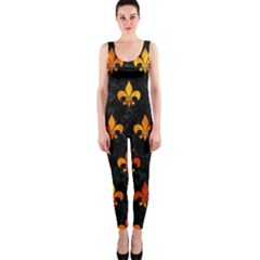 Royal1 Black Marble & Fire (r) Onepiece Catsuit