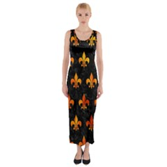 Royal1 Black Marble & Fire (r) Fitted Maxi Dress