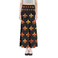 Royal1 Black Marble & Fire (r) Full Length Maxi Skirt
