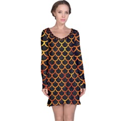 Scales1 Black Marble & Fire Long Sleeve Nightdress